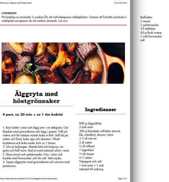 Älggryta med höstgrönsaker - Hemköp recept - tasted delicious. Used all ingredients requested