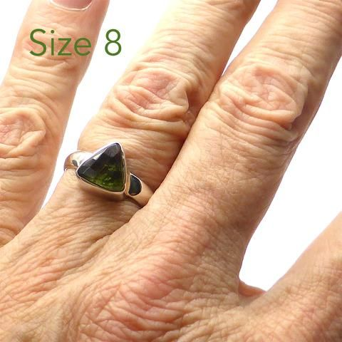 Moldavite Ring Faceted Triangle | 925 Sterling Silver | Checkerboard cut face, raw below | US Size 8 | Moldau Valley | Tektite | Crystal Heart Australia since 1986