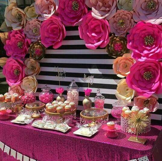 21 best mesa de dulces con flores de papel images on for Backdrop para mesa de dulces