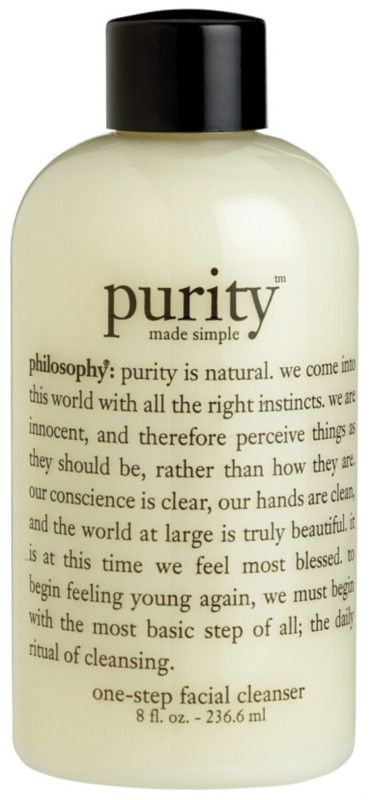 Begin with the most basic step of all. Philosophy's Purity Made Simple One-Step Facial Cleanser is an award-winning cleanser that melts away dirt, oil and makeup. It also tones and lightly hydrates in one simple step for skin that feels perfectly clean and comfortably balanced.
