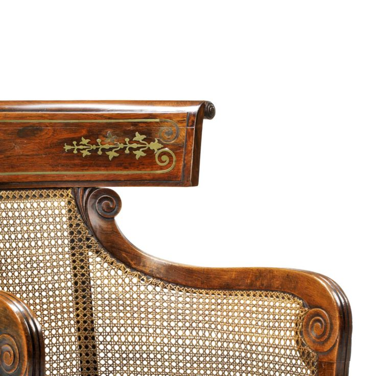 English Regency Klismos Bergere Library Tub Armchair with Tan Leather Cushion | From a unique collection of antique and modern bergere chairs at https://www.1stdibs.com/furniture/seating/bergere-chairs/