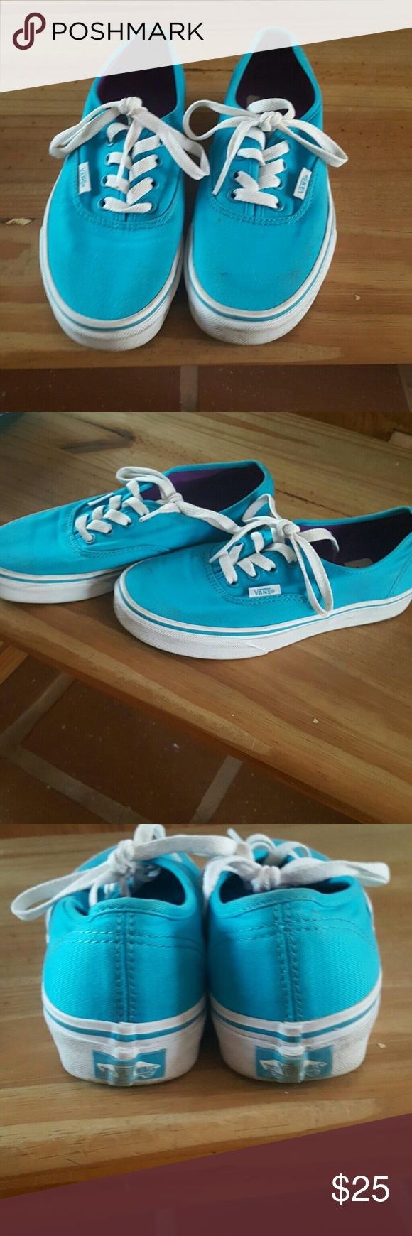 Baby blue vans Used twice, new condition  WOMEN'S 5.5, mens 4 Vans Shoes