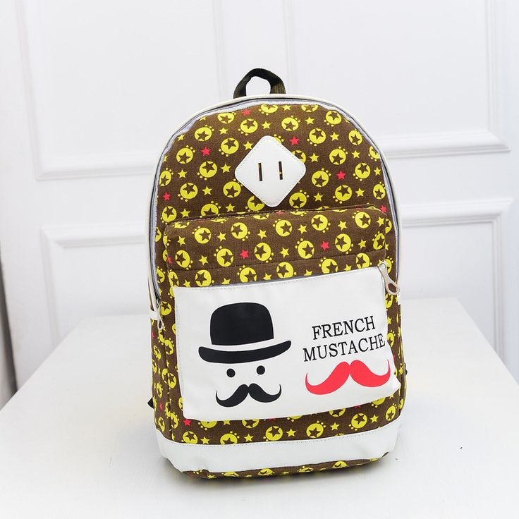 French Mustache and Stars Print Cute Canvas Backpack School Bag