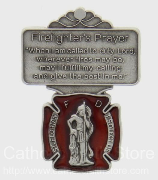 St. Florian Firefighter Prayer Visor Clip with Red Enamel : AU1034 #catholicfaithstore