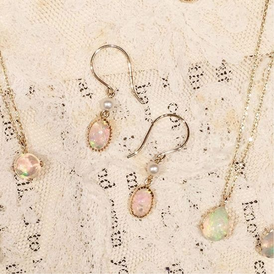 オパール ピアス / opal & pearl earrings 10K gold [ cui-cui ]