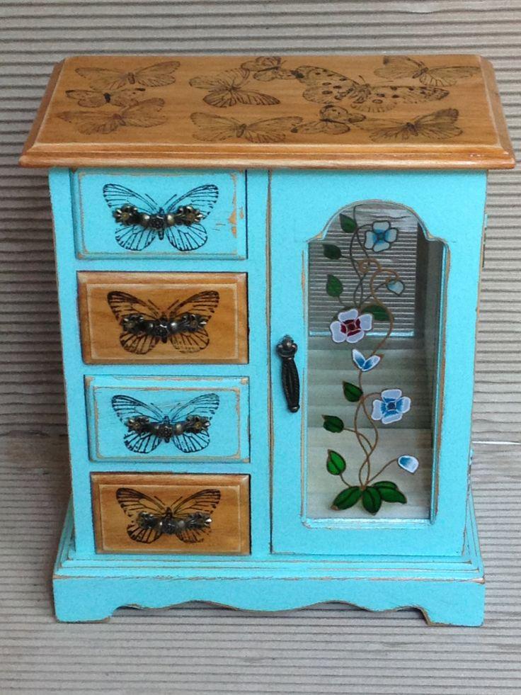Jewellery box-jewelry box-reworked wooden jewellery box-shabby chic jewelry box-hand painted wooden jewellery box-jewelry storage. by artdp on Etsy