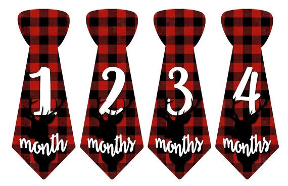Baby Monthly Milestone Growth Stickers Uncut Boy Ties Red