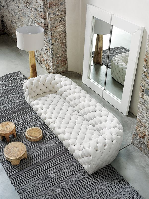 Tufted leather #sofa CHESTER MOON - BAXTER