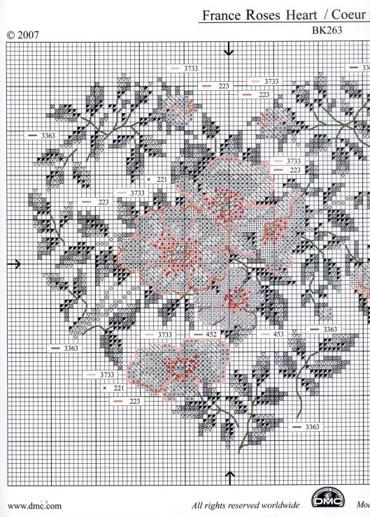france heart roses punto croce 2/3