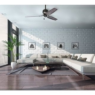 Casablanca 52 Inch Tribeca Aged Steel With Reversible Grey Washed River Timber Veneer Blade Ceiling Fan By CasaBlanca Living Room