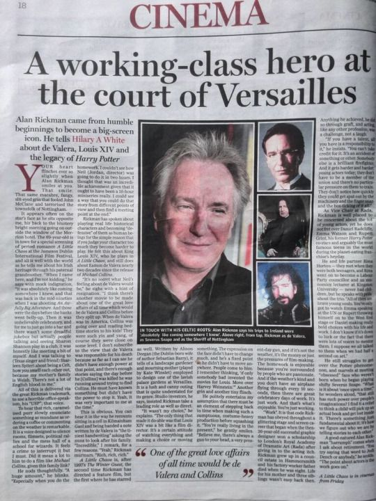"""April 13, 2015 -- The article """"Alan Rickman, A Working-Class Hero at the Court of Versailles"""" was written by Hilary A White and published in Independent.IE in the section for entertainment, movie news. It's a lovely article. -- -- Interview with Alan Rickman, by Hilary A White, independent.ie  Credit: @HAWhiteK"""