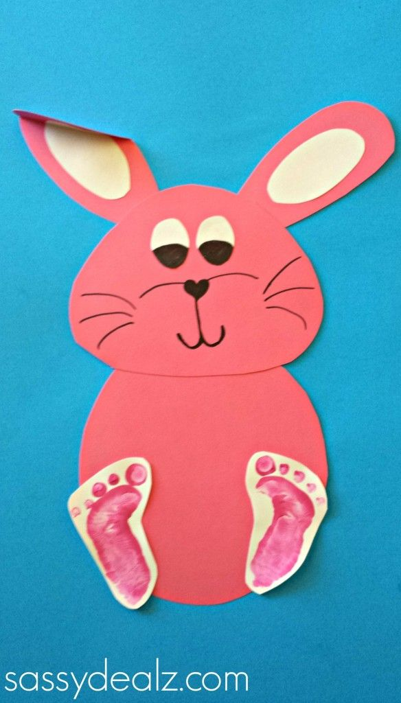bunny rabbit craft kids images | Glue the bunny's head to the body, bend one of the ears, and glue ...