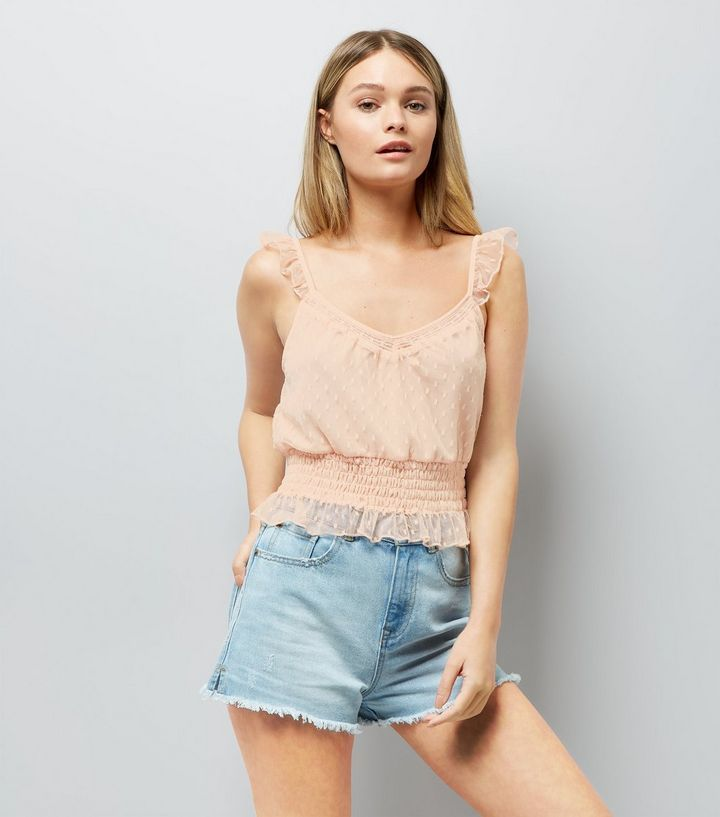 L2017 http://www.newlook.com/row/womens/clothing/tops/pink-spot-mesh-frill-trim-crop-top/p/538037370?comp=Browse
