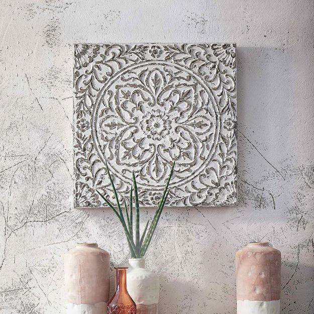 wanddeko ornament aus metall b 60 x l 60cm creme deko wanddekoration bad naturmaterialien