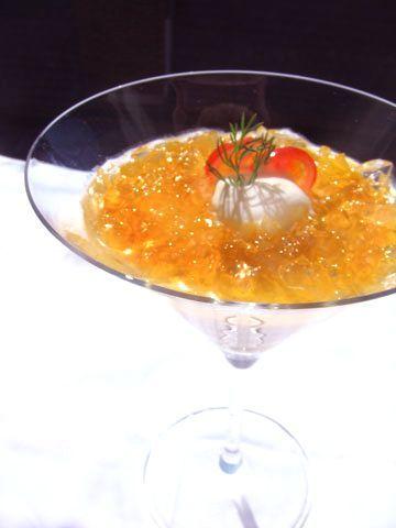オレンジ・パプリカのムース コンソメのクラッシュゼリーのせ   前菜 フランス料理レシピ  フランス料理総合サイト【フェリスィム】〜フレンチでライフスタイルをもっと素敵に♪〜