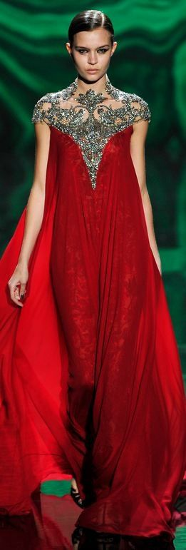 Blood Red Monique Lhuillier Gown Fall 2013