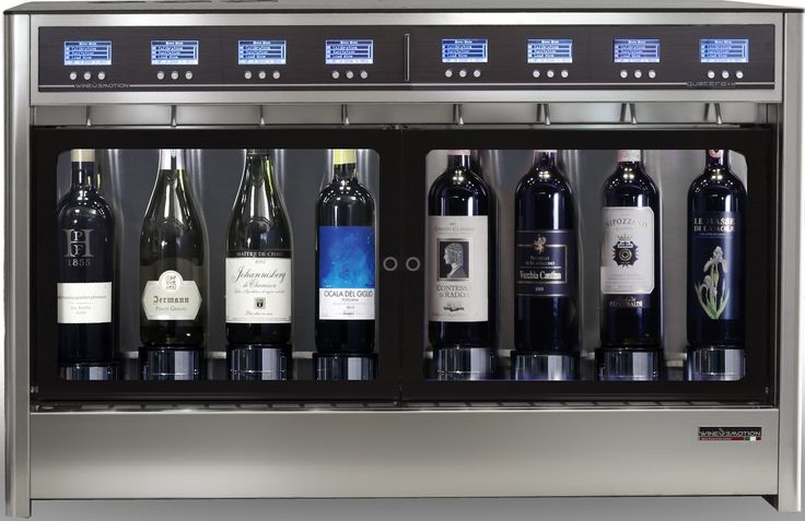 8-bottle dual temperature model for 4 white wines and 4 red wines simultaneously. Perfectly preserved and dispensed at correct temperatures.  WineEmotion Wine Dispenser