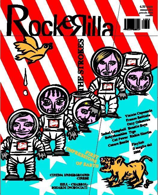 Nella copertina di Rockerilla con gli Strokes è possibile inserire i visi ridisegnati dei propri amici al posto dei componenti della rock band americana.
