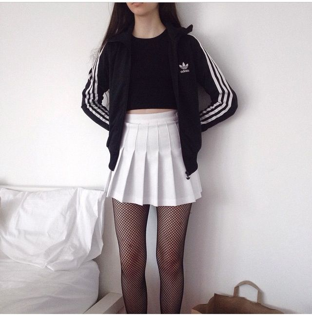 I dont like the jacket but i like the white skirt and black tights