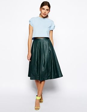 ASOS Premium Full Midi Skirt In Leather / Size UK 8/ EU 36/ US 4 centre back to hem measures: 71cm/28in