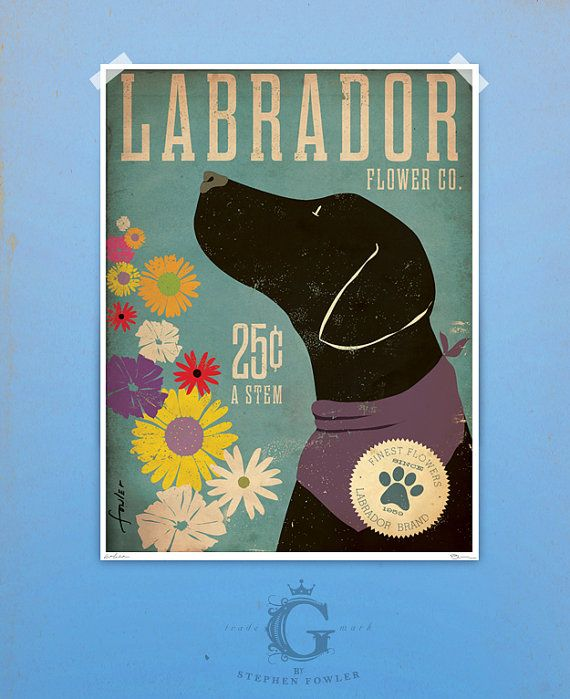 Black Dog Labrador retriever flower company original graphic illustration 12 x 16 giclee archival signed artists print via Etsy
