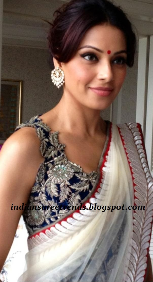 Latest Traditional and Designer Sarees: Bipasha Basu in Plain White Netted saree