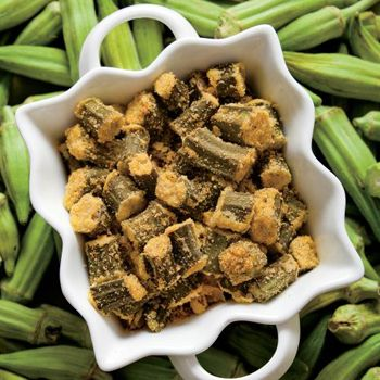 Oven-Fried Okra Enjoy cornmeal-fried okra with less grease by baking it in the oven. #okra