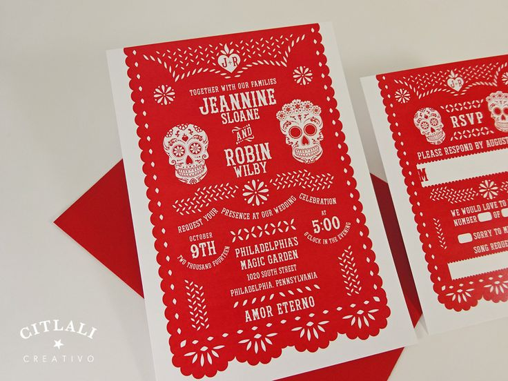 Amor Eterno Mexican Red Papel Picado Wedding Invitation - Day of the Dead Sugar Skulls - Fiesta Mexican Folk Art Banner Invites in Red or any colors - www.citlalicreativo.com We make & ship to you from Seattle Burien, WA state and ship internationally
