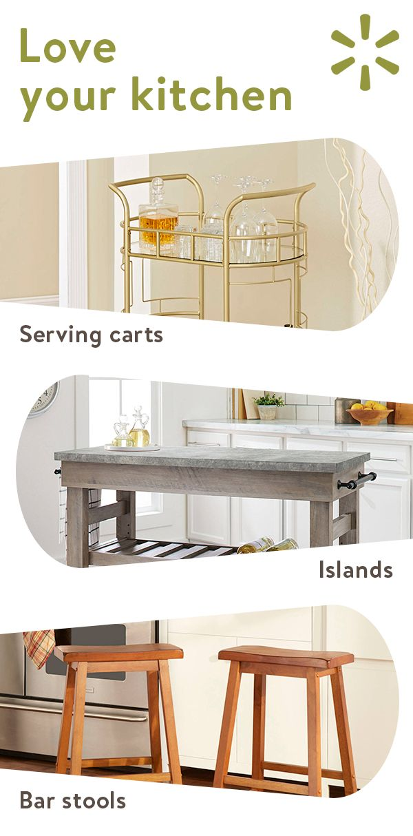 Add some overdue kitchen additions from Walmart.com and easily bring life back to your kitchen space!  Serving carts, bar stools, islands and more – find everything you need at Walmart.com.