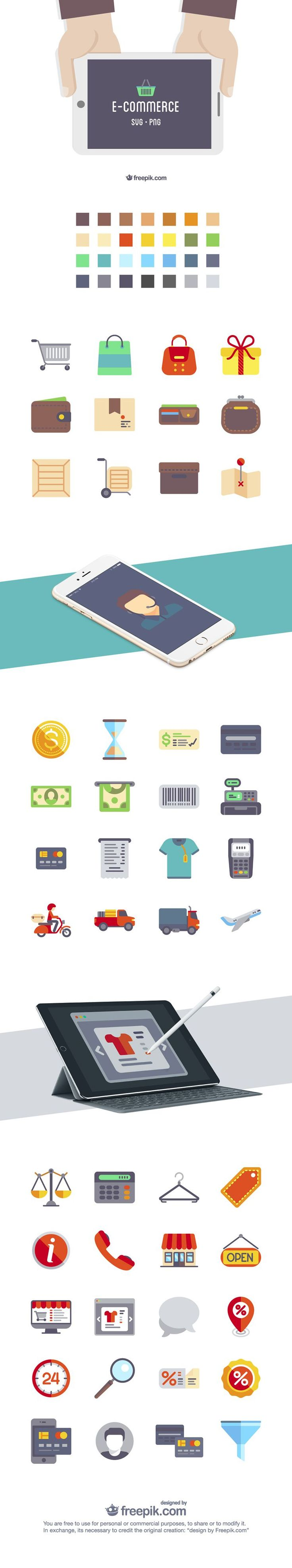 Freebie: The Flat eCommerce Icon Set (50 Icons, PNG & SVG)