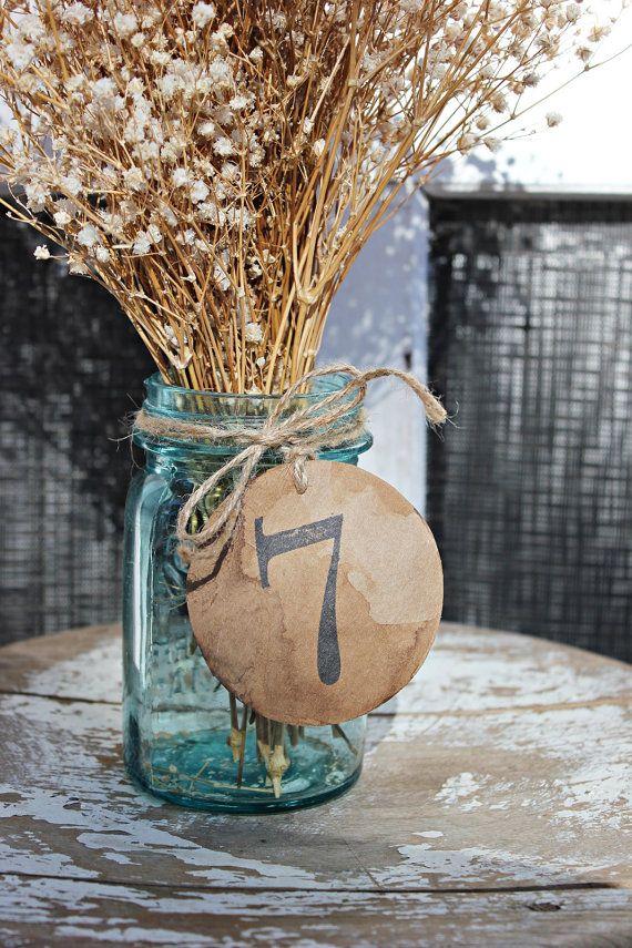 antiqued table numbers . 15 rustic wedding kraft by montanasnow, $15.00