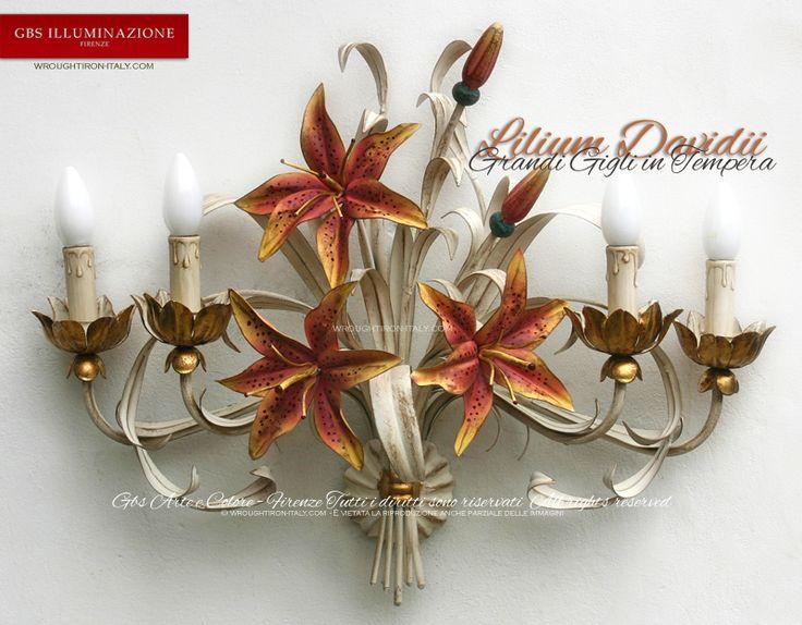 Applique Lilium Grandi Gigli _GBS Illuminazione – Ferro Battuto – Wrought Iron – GBS Arte e Colore