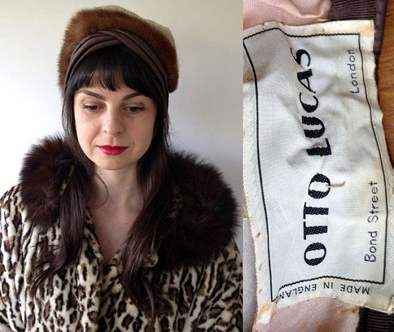 1960s cream brushed mohair turban from 'Otto Lucas' of Bond St, London, with mink and satin crossover pleat detail – so very glamourous…