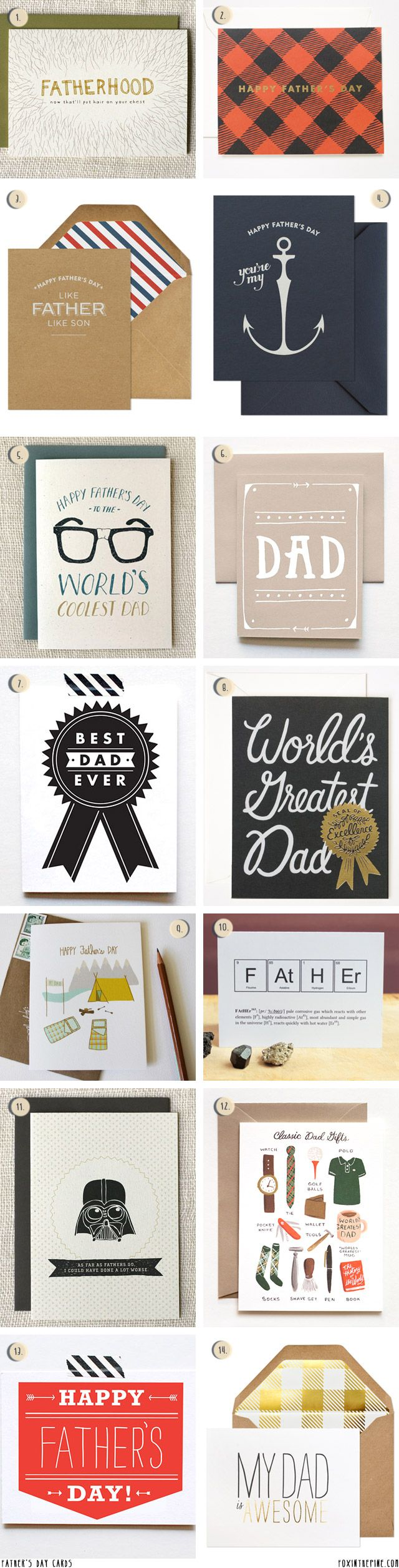 Fathers Day cards   //   FOXINTHEPINE.COM...