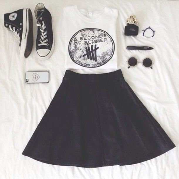 I WOULD ACTUALLY WEAR THIS shirt five seconds of summer tank top white skirt circle skirt sunglasses shoes converse converse high tops
