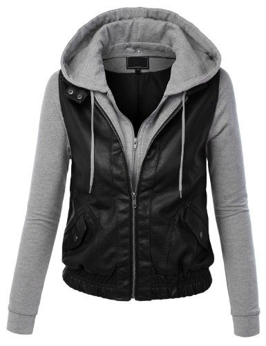 LE3NO Women's Zip Up Faux Leather Moto Jacket with Hoodie - Listing price: $34.99 Now: $13.99