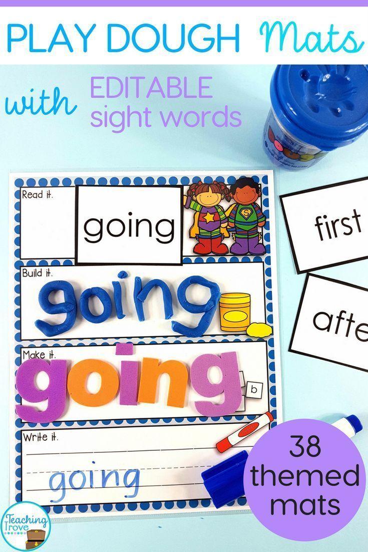 Sight word play dough mats make learning sight words fun! #sightwords #playdoughmats #editable