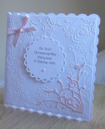 Christening card Personalised hand made for Baby girl