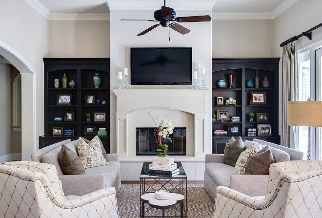 stunning living room with wall built-ins and feature fireplace. #livingrooms