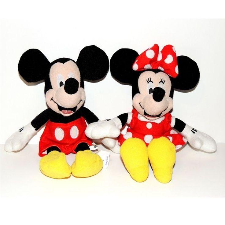 "Walt Disney Mickey Mouse & Minnie Mouse Plush Toys 10""  Plastic Pellet Filled #Disney"