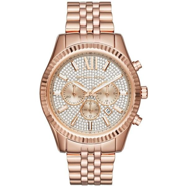 Michael Kors Men's Lexington Stainless Steel Bracelet Watch (£200) ❤ liked on Polyvore featuring men's fashion, men's jewelry, men's watches, rose gold, mens stainless steel watches, mens diamond bezel watches, mens bracelet watch, michael kors mens watches and mens watches jewelry