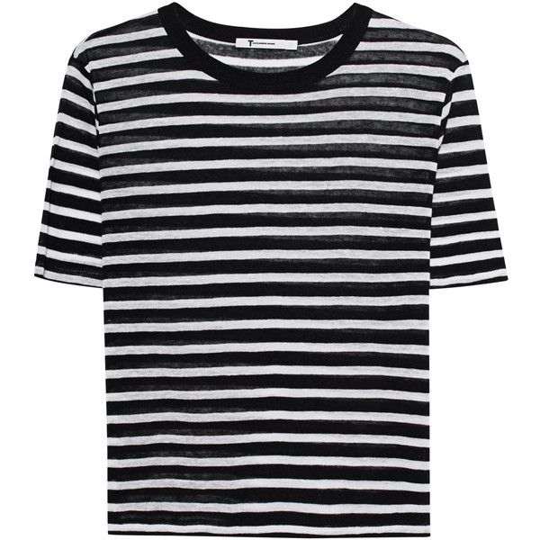 T BY ALEXANDER WANG Cropped Stripe Linen Tee Black // Striped T-shirt ($150) ❤ liked on Polyvore featuring tops, t-shirts, loose fitting crop top, loose fit crop top, striped t shirt, loose crop top and loose tee