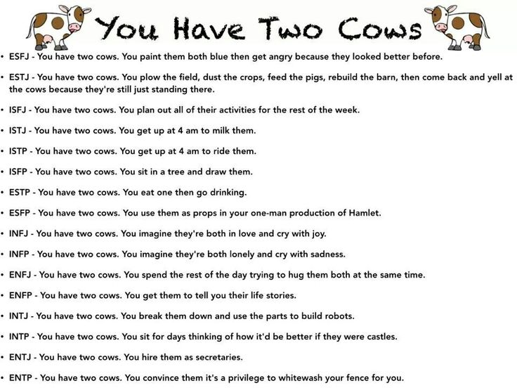 """""""You have two cows"""" MBTI #INTJ -- Well, maybe not robots, but I would reorganize them into a more efficient mechanism"""