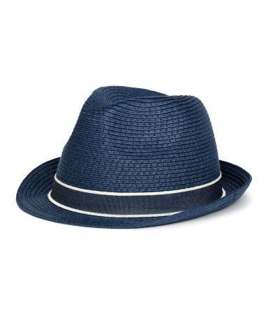 Dark blue. Hat in paper straw with a grosgrain band. Width of brim 1 1/2 in.