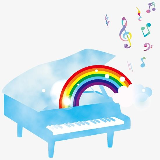Piano colorful. Cartoon in lessons