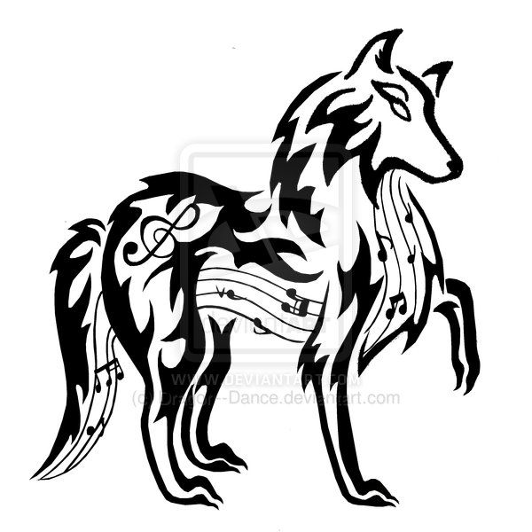 A tribal wolf with music running throughout his body.... I like it.
