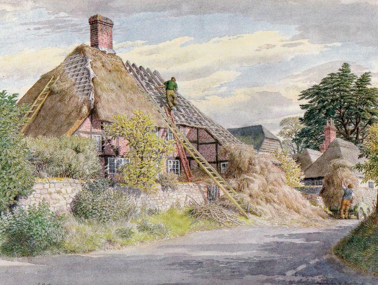S. R. Badmin.'Thatching, West Burton, Sussex.' 1979.