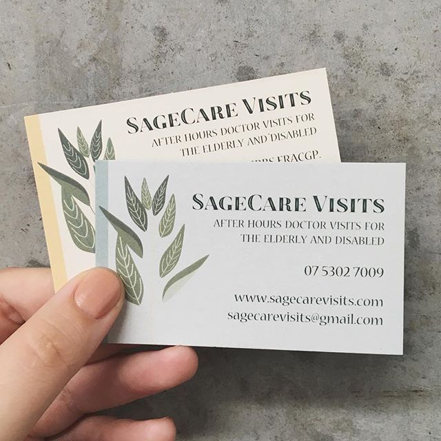 Two variations of business cards for SageCare Visits printed on 100% recycled Envirocare 300gsm ♻️ #greenprintery #environmental #recycled #ecoprinting #envirocare #businesscards