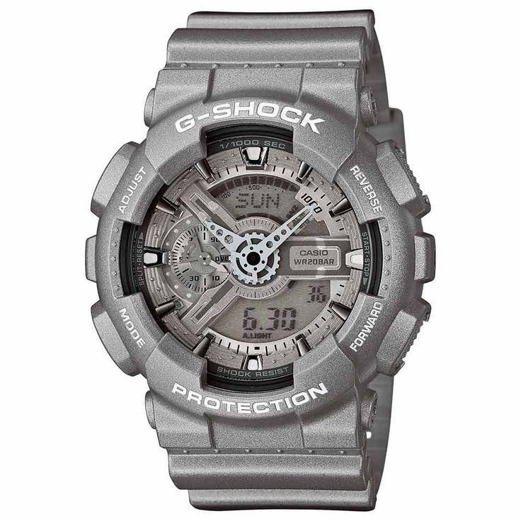 Casio GA110BC-8A Men's G-Shock Ana-Digi Grey Dial Grey Resin Strap World Time Alarm Dive Watch