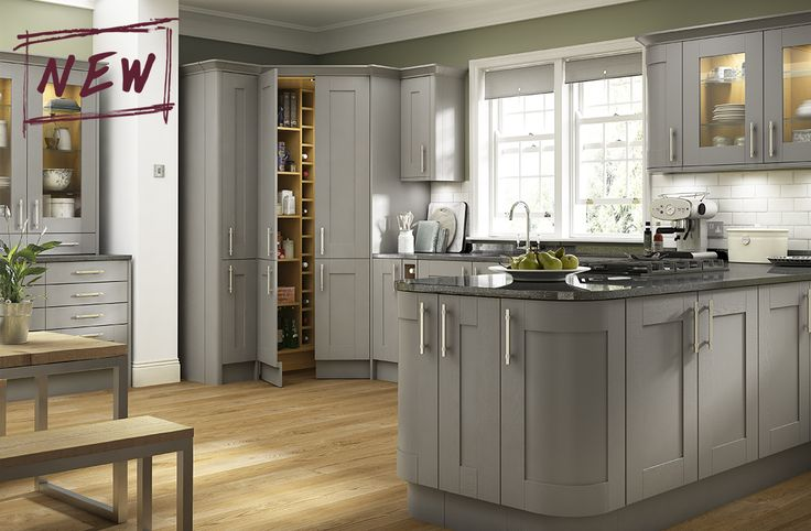 Strong, bold tones of grey painted timber make this kitchen stand out from the crowd ‐ and combines perfectly with stainless steel effect ringed bar handles.